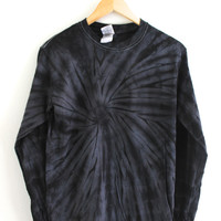 Black Tie-Dye Long Sleeve Tee
