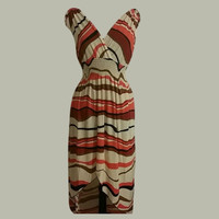 NWT Ladies Abstract High-low Summer Maxi Dress. V-neck, Sleeveles Size XL