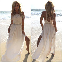 Macrame & Crochet Maxi Dress In Cream