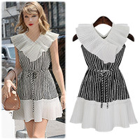 Black and White Flounce V-Cut Sleeve and Waist Tie Striped Mini Dress