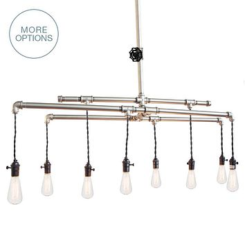 Barn Metal Industrial Pipe Chandelier - 8 Light