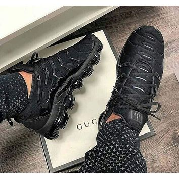 Nike Air Vapor max Plus Wave Type Leisure Transparent air cushion sole Sneskers B-CSXY Black