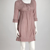 Lilac Buttoned Empire-Waist Dress
