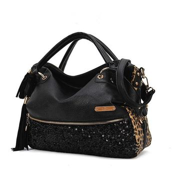 Leopard Big Capacity Tote Bag Shoulder Bag [10486011348]