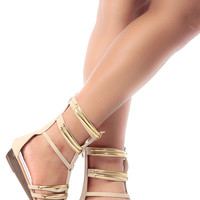 Beige Faux Leather Caged Mini Gladiator Wedge Sandals