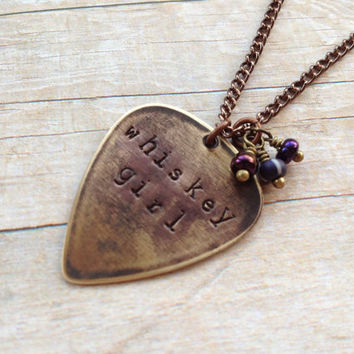 "Metal Guitar Pick ""Whiskey Girl"" Necklace, Hand Stamped Purple Beads Vintaj"
