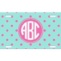 Custom Personalized License Plate Car Tag Preppy Polka Dot Circle Monogram Sorority Girls Birthday Gift Aluminum Front Car Plate LP-1012