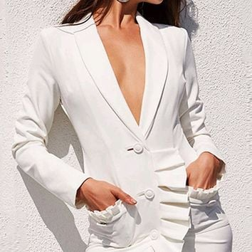Inner Thoughts White Long Sleeve V Neck Ruffle Blazer Jacket Bodycon Mini Dress