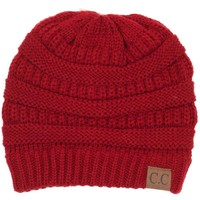 C.C. Exclusives Cable Knit Beanie in Red HAT-20A-RED