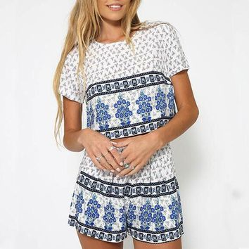 Print Short Sleeve Round Neck Two-Piece Suit
