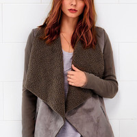 Cupshe Walk In the Park Suede Splicing Cardigan