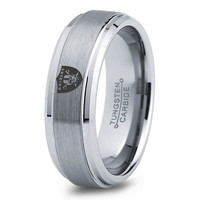 Oakland Raiders Ring Mens Fanatic NFL Sports Football Boys Girls Womens NFL Jewelry Fathers Day Gift Tungsten Carbide 068