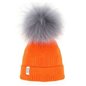 Neon Orange Beanie Lux Pom Gray Fur