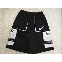 NIKE Summer New Letter Hook Print Shorts Black