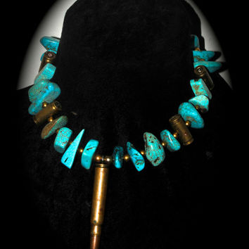 Mens bullet beaded turquoise choker