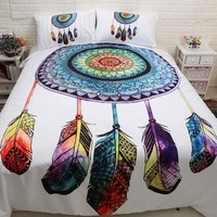 3pcs/lot Double Bed Sheets Boho Dreamcatcher Bed Mattresses Comforter Bedding Set Bohemian Duvet Cover Set Pillowcase Queen King