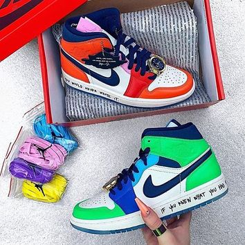 Air Jordan 1 x Melody Ehsani Mid gold watch lace buckle colorblock high-top basketball shoes