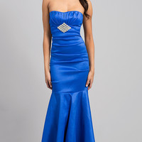 Floor Length Strapless Ruched Dress