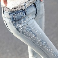 Slim Sequined Pants Feet BAII from MegaFashion