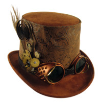 Dark Knight Armoury - Mens Brown Steampunk Top Hat with Goggles