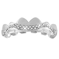 14k White Gold Finish Designer Top Teeth Mouth Grillz
