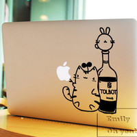 lovely cat Christmas Decal laptop MacBook pro decal MacBook decal MacBook air sticker 062