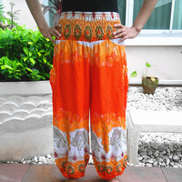 Orange Hippie Pants Elephant Harem Boho Printed Baggy Native Rayon pant Gypsy Dress Clothes Bohemian Henna Paisley Tank Genie Yoga Wide Leg