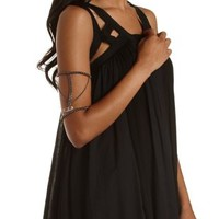 Hematite Chain & Crystal Stretch Arm Cuff by Charlotte Russe