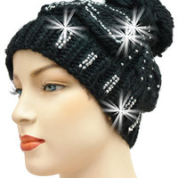 Black Knit Hat with Rhinestone Accents M