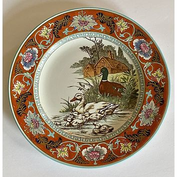 Wedgwood Circa 1903 Enameled Clobbered Antique Transferware Game Bird Plate