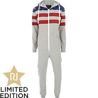 Grey Dirty Roller stars and stripes Onesuit