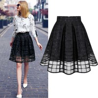 Women Skirt Womens Organza Skirt Transparent Skirts High Waist Pleated Midi Skirts Organza Saia Feminino Tutu Skirts White/Black