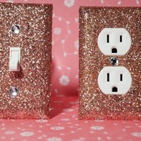 SET of ROSE GOLD GLITTER Switch Plates / Outlet Covers ANY STYLES