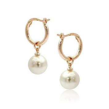 18K Gold Plated Moon Drops Pearl Bead Hoop Earrings In Four Colors For Woman