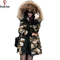 Winter Jacket Coat Women Parka 2016 New Camouflage Natural Real Big Silver Fur Collar Hooded Long Womens White Duck Down Jackets