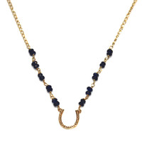 Sapphire Horseshoe Necklace Lucky Horseshoe Lucky Necklace Horse Shoe Necklace Sapphires Everyday Necklace Good Luck Necklace Gold Horseshoe