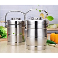 Portable 3 Layer Double Layer Stainless Steel Thermal Lunch Boxs Thermal Bento Box Leak-Proof Seal Vacuum Pot Food Container