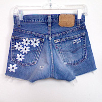 High Waisted White Daisies Floral Painted Denim by WaistedYouth
