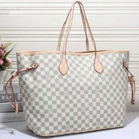 LV Fashion Trending Women Shopping Leather Tote Handbag Shoulder Bag White Tartan G