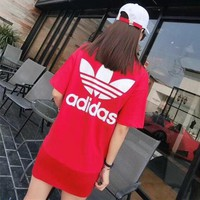 """Adidas"" Women Casual Fashion Letter Logo Print Short Sleeve T-shirt Dress"