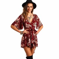 Pleated Floral Front Tie Women Elegant Overall Rompers