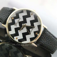 fashion watches - Wave stripe watches, men and women watch, students watch, unique watches