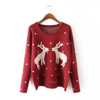 Deer Patterned Print Knitted Sweater