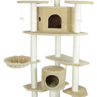 "New 80"" Beige Cat Tree Condo Furniture Scratch Post Pet House 38B"
