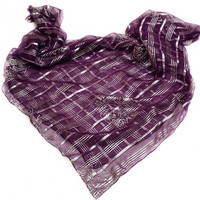 Christmas Gift for Mother in law, Purple silk scarf Holiday Gift for coworker, Best Friend Gift, Cyber Shopping Sale Holiday sparkly scarves