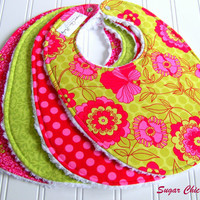 Baby Bibs for Baby Girl  - Set of 4 Chenille Bibs  -  Pink and Lime Green  Floral, Dots & Damask