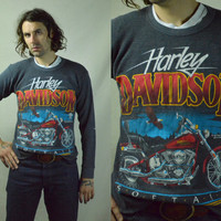 Vintage 70s Harley Davidson Eagle and Motorcycle Waffle Flannel Shirt