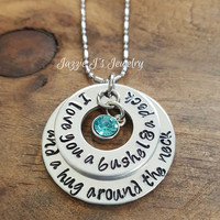 I love you a bushel and a peck and a hug around the neck necklace, Personalized Necklace, Handstamped I Love You A Bushel and a Peck