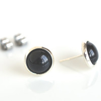 Black agate studs, gemstone studs, black stud earrings, black post earrings, black studs, gemstone earrings, women's jewelry
