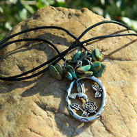 Hummingbird Pendant and Turquoise Chips Necklace